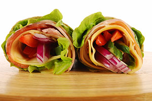 Ham & Cheese Lettuce Roll Ups with Honey Mustard Sauce