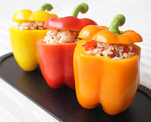 Stuffed Peppers with Red Quinoa, Chickpeas & Butternut Squash